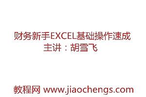 胡雪飞主讲财务会计新手ecxel必会基础操作速成教学视频(9讲)百度网盘免费下载观看