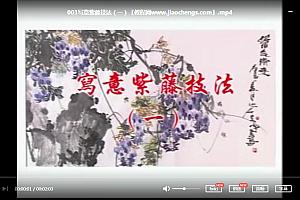 踪岩夫写意紫藤技法6讲花的画法叶的画法藤的画法造型问题百度云网盘下载学习美术视频教程