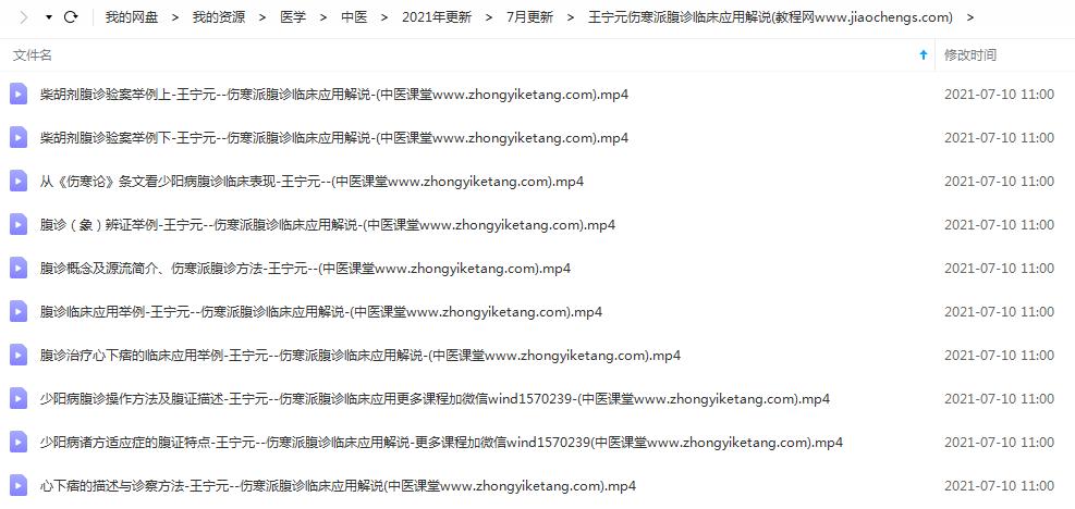 2021年王宁元伤寒派腹诊临床应用解说高清视频课程中医在线百度云网盘下载学习中医腹诊教程
